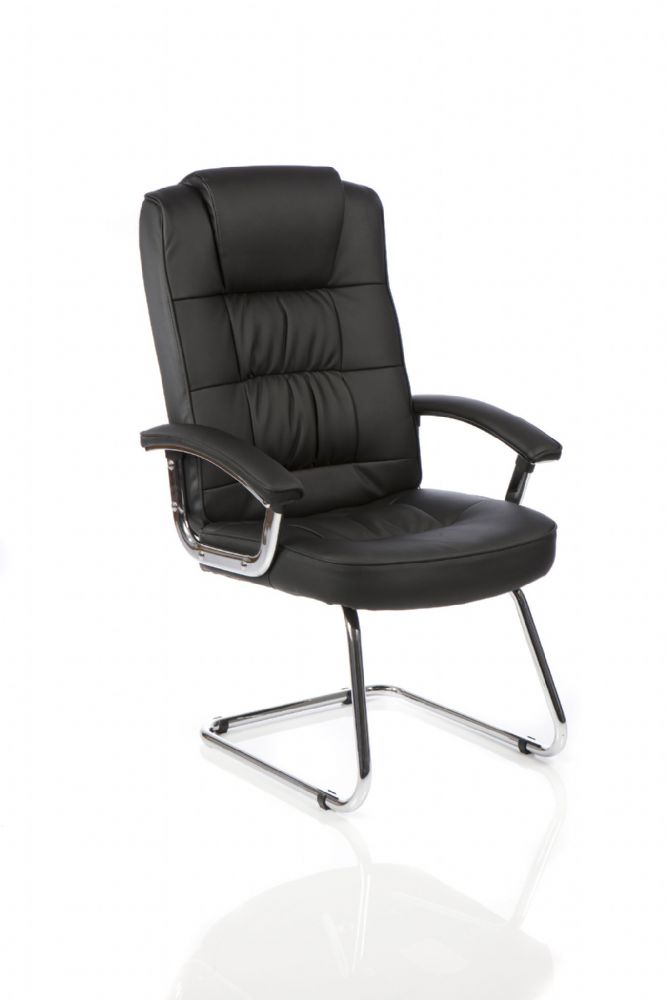 Moore Deluxe Visitor Cantilever Chair High Back Bonded Leather Padded Arms Black Bonded Leather